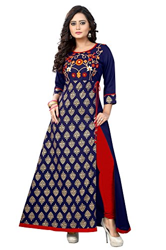 Vbuyz Women's Rayon Dark Blue Kurta (Vb-Ku-96-40)