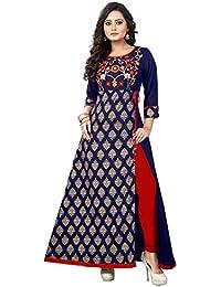 Vbuyz Women's Rayon Blue And Grey New Style Low Price Party Wear Kurtis/Kurtas For Women