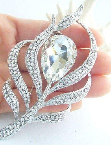 in lega di moda cristallo strass silver-tone piuma di pavone donne spilla da sposa , (Tone Cuore Spilla)
