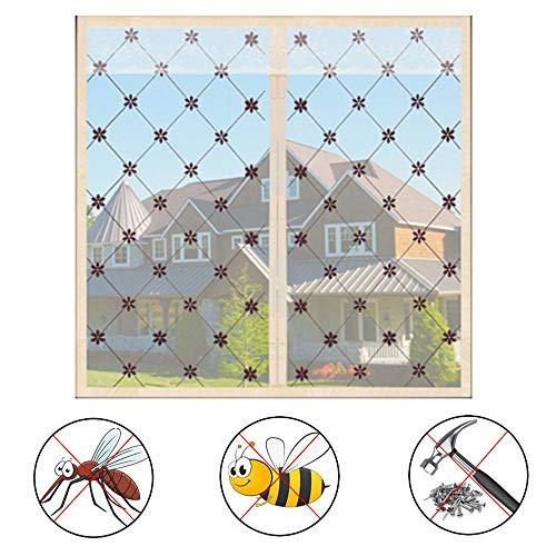 QWESHTU Ineinander Greifen Bildschirm Vorhang, Fenster Moskitonetz Mit Magneten Für Fenster Und Türen Fliegennetz Rollenware Größenwahl,Beige,200x200cm(79x79inch)