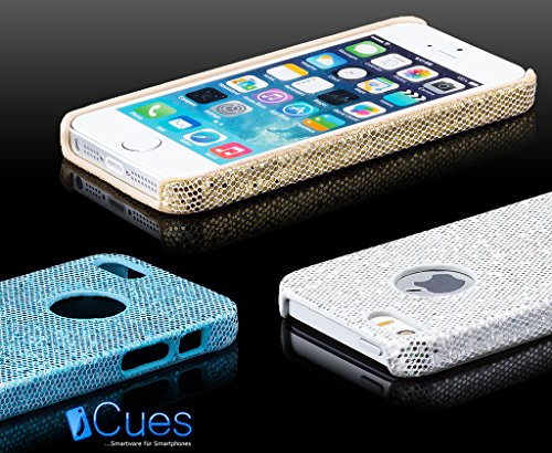 iCues Apple iPhone SE / 5S / 5 |  Glitzer Case Türkis | [Display Schutzfolie Inklusive] Strass Glitzer Glitter Luxus Bling Damen Frauen Mädchen Schutzhülle Hülle Cover Schutz Rosa