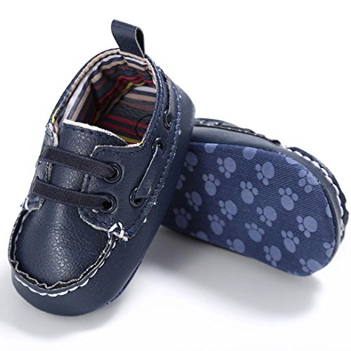 OverDose Baby-Schuhe Jungen-Mädchen Neugeborene Leder-Krippe Soft Sole Schuh Turnschuhe Sneakers Toddler shoes Prewalker Navy