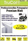 50 Blatt DIN A5 195g /m² Premium MATT Fotopapier hochweiß für Tintenstrahldrucker sofort trocken wasserfest lichtecht Flyerpapier Broschüren Vorlagen Grußkarten Photopapier Einladungskarte