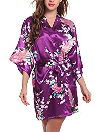 ADORNEVE Women Knee Length Satin Kimono Bridesmaids Spa Rob