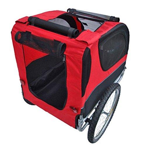 Hundeanhänger Fahrrad Hundefahrradanhänger rot-schwarz mit Sicherheits-Drehkupplung - 3