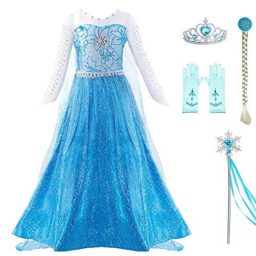 ädchen Kleid Up Lange, Schiere Ärmel Bodenlangen Shinny Cape Kinder Fancy Prinzessin Kleider mit Zubehör ()