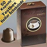 Testbox mit heißer Schokolade und Kaffee für Nespresso. 50 Nespresso kompatible Kapseln