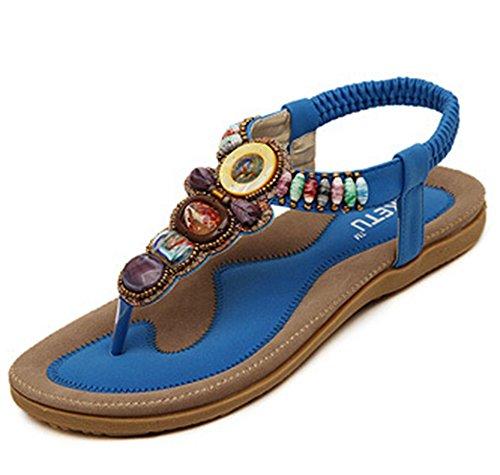 Ohmais femmes dames fille Flattie sandale été Tongs flip plat Flops Sandales avec Bohême perles Bleu