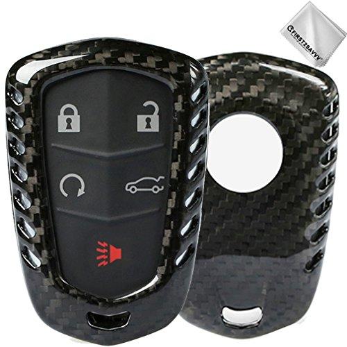 First2savvv Luxus Kohlefaser Auto-Auto-Fern Schlüsselkasten-Halter-Fob-Abdeckung für Cadillac CT6 ATS CTS-V CTS XTS XT5 ELR SRX Escalade 5-Buttons Key (Überprüfen Sie bitte Kompatibilität von Produktfoto) - CAR-Cadillac-TXW-Y-A01 (Cadillac Escalade Schlüssel)
