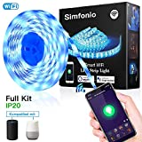 Simfonio Smart LED Streifen 5M - WIFI LED Lichterkette steuerbar via APP?Stimme - LED Leiste 5m 5050SMD 150LED RGB LED Strip Full Kit - LED Band LED Stripes mit Netzteil