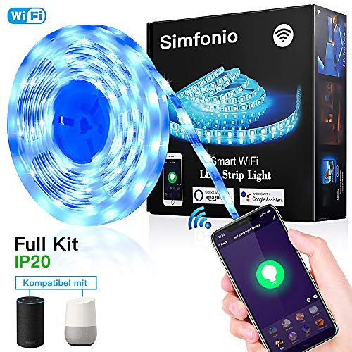 Simfonio Smart LED Strip 5m - LED Stripes steuerbar via App , Sprachunterstützung LED Lichterkette - LED Band 5m Wasserdicht 5050SMD 150 LED RGB Strip Full Kit - LED Streifen Kit mit Netzteil -