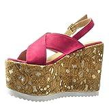 Angkorly - damen Schuhe Sandalen Mule - Plateauschuhe - Kork - fantasy - golden Keilabsatz high heel 12.5 CM - Fushia - 2