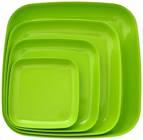Eco Bamboo Square Dinner & Serving Plates, Green by Yumi Nature+ (Square Bamboo Plate Dinner)