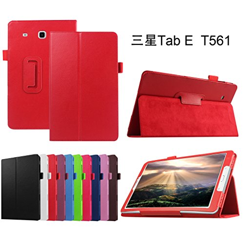 Mama Mouth PU Leder Folio 2-Folding Stand Cover mit Stylus Halterung für Samsung Galaxy Tab E 9,6/E Nook 24,4cm T560T561T567Verizon 4G LTE Rot Rot