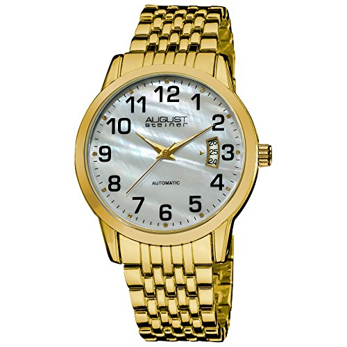 August Steiner Men's ASA826YG Automatic Mother Of Pearl Bracelet Watch