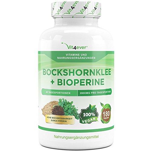 Bockshornklee Aktiviert – 180 Kapseln – 700 mg – Vegan – Laborgeprüft – Gesteigerte Bioverfügbarkeit durch Bioperine – Fenugreek – Bockshornkleesamen – Vit4ever