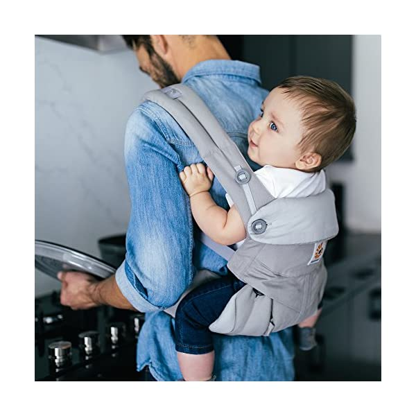 Ergobaby Baby Carrier up to 3 years (12-45 lbs) 360 Pearl Grey, 4 Ergonomic Carry Positions, Front Facing Baby Carrier, Child Carrier Backpack Ergobaby Ergonomic carrier with 4 ergonomic carry positions: front-inward, back, hips, and front-outward. New - the waist belt with lumbar support can be worn a little higher or lower to support the lower back and provide optimal comfort, and has adjustable padded shoulder straps. Maximum baby comfort - the structured bucket seat supports the correct frog-leg position for the baby. 4