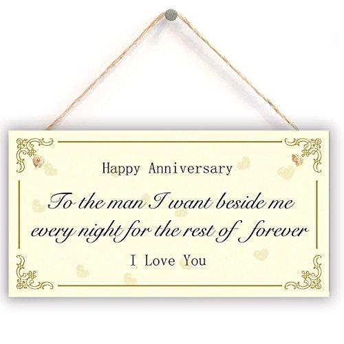 Einzigartiges Jubiläumsschild – Glücklicher Jahrestag zum Mann Ich wünsche neben mir jede Nacht für den Rest von für immer Ich liebe dich, super niedlichen Jubiläumsgeschenk