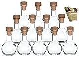 gouveo 12er Set Leere 100 ml Tulip Flaschen Incl. Holzgriffkorken und 28-seitige Flaschendiscount-Rezeptbroschüre Milchflaschen Saftflaschen Essigflaschen Ölflaschen Glasflaschen