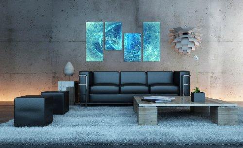 Augenblicke Wandbilder Meeresrauschen 130x70cm 4 teiliges Keilrahmenbild (30×70+30×50+30×50+30x70cm) abstraktes Wandbild mehrteilig Gemälde-Stil handgemalte Optik Vintage