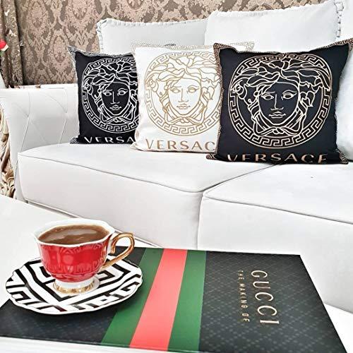 YorkeIII Set von 3 Kissenbezügen Weißgold, Kupfer, Medusa-Kopfmotive, Schlafzimmerbett-Dekoration, Kissenbezüge, Geschenk für Ihre Kissen -