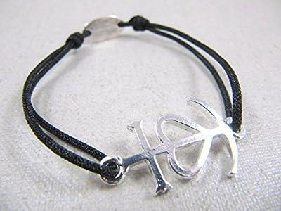 Bracelet cordon tréssé croix de camargue 18x24mm finition argent 925