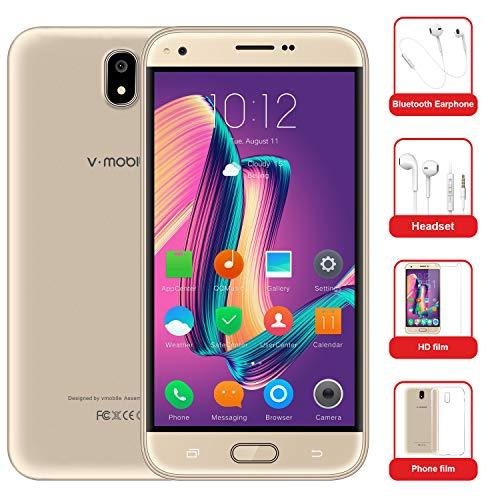 Moviles Libres Baratos v·mobile J5 Telefono 4G Android 7.0 Dual SIM 5.5' 8GB Batería 2800mAh Cámara 5 MP Quad Core WIFI GPS Bluetooth Smartphone(Oro)