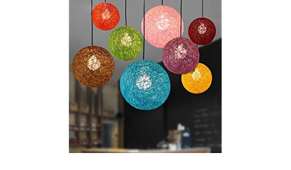 Colorful Ma Rattan Ball Led String Fairy Lights Wicker Pendant Light For Christmas Xmas Wedding Decoration Party Bar Aisle Lamps Pendant Lights Lights & Lighting