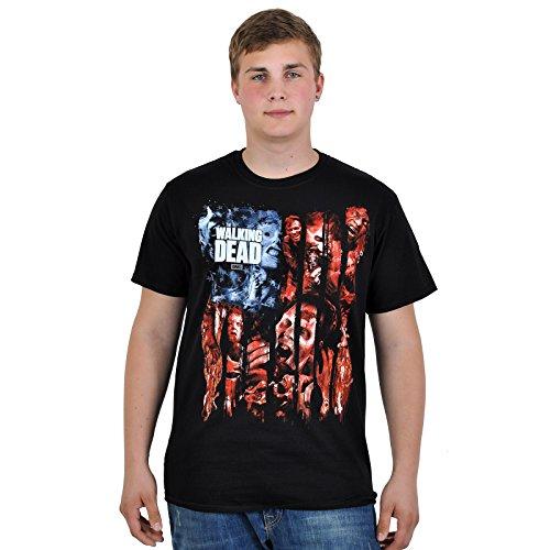 The Walking Dead - T-shirt con motivo stampa zombie e logo - Maglia con licenza ufficiale tratta dalla serie TV horror AMC - Girocollo - Nero - M