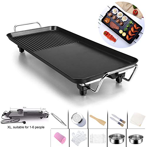 SSCJ Teppanyaki Electric Grill Plate Große Non-Stick Tabletop Griddle mit 67cm x 28cm Hot Plate & Adjustable Temperatur enthält 8 Holzspatula & Rezepte in Manual,XL