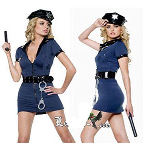 Gorgeous Blauen Polizeiuniform Polizistin ausgestattet zip Halloween-Party Spielanlagen (Sexy Blau Tuxedo Kostüme)