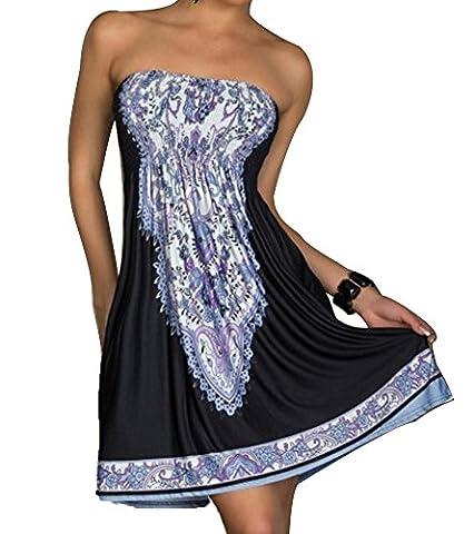 Women's Strapless Bohemian Vintage Tunic Dress Casual Beachwear Black
