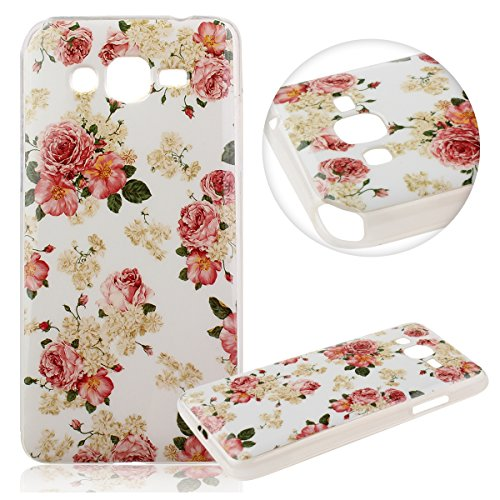 Samsung Galaxy Grand Prime G5308W Coque Protection Perfect Fit Defender Bumper Ultra Slim [anti poussiere][absorbant les chocs] [Ultra léger] [Anti-rayures],Kakashop Galaxy Grand Prime G530 Soft Silic Fleur Rose