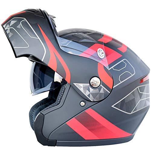 LOLIVEVE Motorradhelm, Doppelhelm, Doppelgesichtsglas, Facelifting, Mann und Frau, Vier Jahreszeiten, Winterwindschutz, Vollverdeckter Elektrofahrzeug-Schutzhelm.