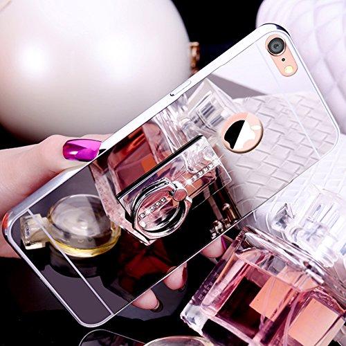 iPhone 8 Hülle,iPhone 7 Hülle,SainCat Luxus Bling Glänzend Glitzer Spiegel Hülle [Weiche Metall Rahmen + Hart PC Rückdeckel] Mirror Effect Spiegel Schutzhülle [Glitzer Diamant Square Ring Fingerhalter Square-Silber