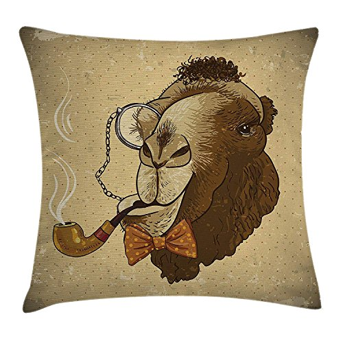 MLNHY Animal Throw Pillow Cushion Cover, Pop Art Stylized Hipster Camel with Pipe and Monocle Vintage Humor Fun Cool Graphic, Decorative Square Accent Pillow Case, 18 X 18 Inches, Brown Tan (Pop-up-camper Cover)