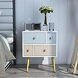 Lifewit Retro Nachttisch, Schlafzimmerkommode Beistelltisch Telefontisch Nachtschrank Nachtkommode, aus Holz mit 4 mehrfarbigen Schublade, Weiß (4 Schubladen)