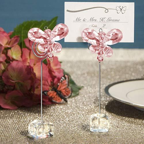 Flowow 6pz rosa trasparente farfalla cristallo acrilico pinze pinzette segnaposto con base in metallo forma di come supporto memo foto clip portafoto fai da te per segnaposto bomboniera matrimonio