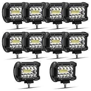 Safego 4″ 60W Foco Led Coche Luz de Trabajo LED 1260LM Spotlight IP68 Impermeable de Faros Led Tractor Blanco Frío Para Off Road Camión Moto SUV Barco 12V 24V, Garantía de 1 año, 10 piezas