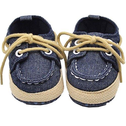 FEITONG infantil del bebé Niño Chico Niña Sole suave zapatilla de deporte Niñito Zapatos (6~12 meses, azul oscuro)