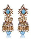 Shining Diva Blue Pearl Jhumka Earrings For Women