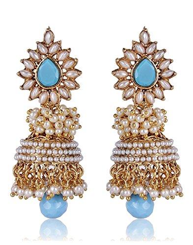 Shining Diva Blue Pearl Jhumka Earrings For Women