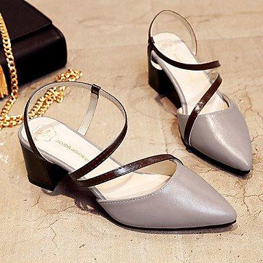 zhENfu Donna Sandali Comfort suole di luce PU abiti estivi Comfort suole Luce blocco tacco marrone chiaro beige grigio 2A-2 3/4in Gray