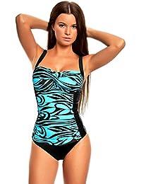 Eleganter Figurumspielender Damen Push Up Tankini / Slip / Badeanzug / Traumhaft schlanke Silhouette f6041
