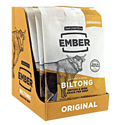 Best Ember Biltong - Beef Jerky - Traditionelles Gras gefüttert Steak. Proteinreicher Biltong Snack - kein Zucker gesunder Snack, 10 x 30g Beutel - NEUER STARTABLAUF - NUR DIESE WOCHE! (Original)