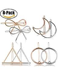Clips de cheveux en métal, Fascigirl 8 Pcs Hollow Double Triangle Loop Round Moon Bowknot Poignées pour femmes Accessoires pour cheveux pour les filles (Circulaire)