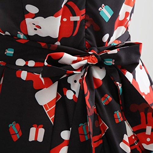 iBaste Damen 50s Retro Vintage Rockabilly Kleid Partykleider Cocktailkleid Swing Weiß