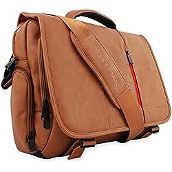 Maletín para Ordenador de Cuero de Snugg en Marrón para Portátiles, Notebooks de hasta 43,2 cm (17 pulgadas)