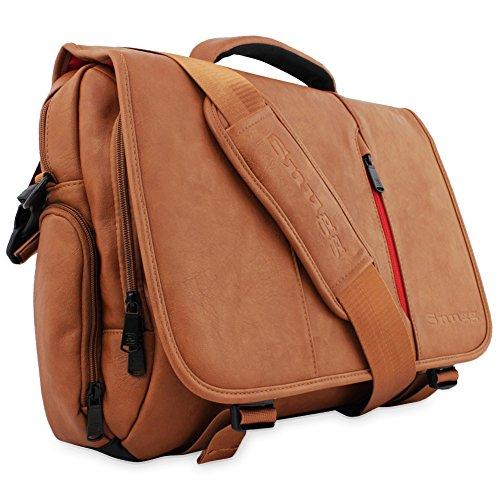 "Laptop Bag, Snugg - Messenger Bag, Marrone Borsa in Ecopelle per il Vostro Laptop, Notebook, Tablet - Per Laptop Fino a 15.6"""