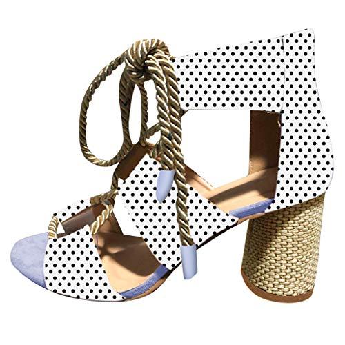 Sannysis Zapatos de tacón Alto Bohemia Lunares Sandalias de Abiertos con Correa de Lino Zapatos de cuñas Moda